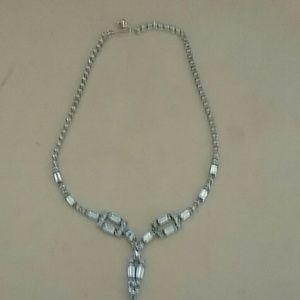 Vintage Kramer of NY light blue rhine necklace